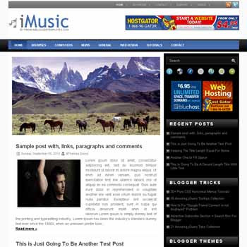 iMusic blogger template with image slideshow template and pagination for blogger ready. music template blog