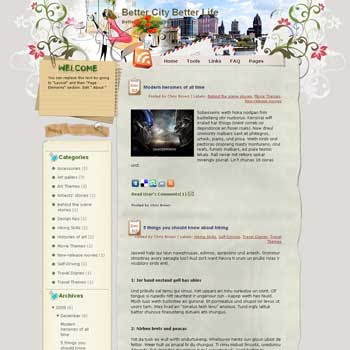Better City Better Life blogger template. template blog from wordpress.