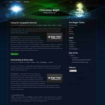 Christmas Night blogger template. blogger template converted from css template. blogspot template from css template