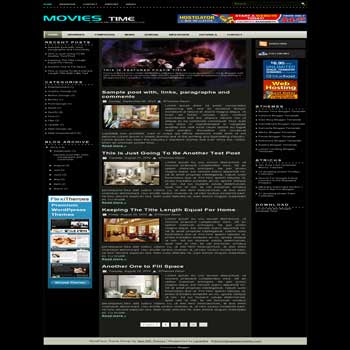 Movies time blogger template. magazine style template blog. 3 column template blog. image slideshow template blog