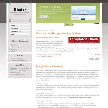 Binder blogger template. css template to blogger template. content slider blogger template