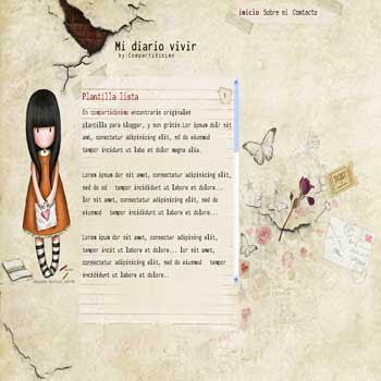 Mi diario vivir blogger template. 1 column blogger template. personal diary blogger template