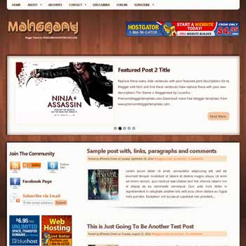 Mahogany blogger template. pagination for blogger ready. 4 column footer blogger template. magazine style template blog