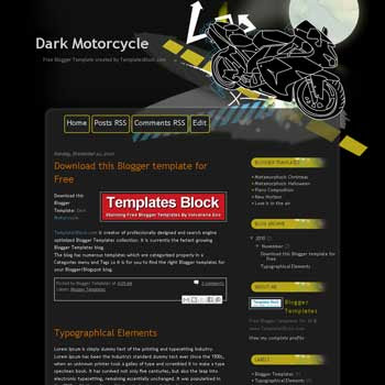 Dark Motorcycle blogger template converted from wordpress theme to blogger. motor template blogger