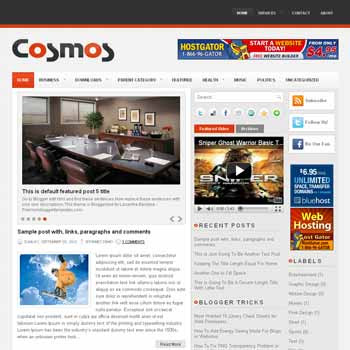 Cosmos blogger template. pagination for blogger ready. magazine style template blog. image slider template blog