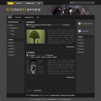 iVideoGames blogger template for wordpress theme. image slideshow blog template.image slideshow blogspot template blog