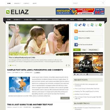 Eliaz blogger template. pagination for blogger ready. magazine style template blog. image slider template blog