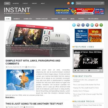 Instant blogger template. pagination for blogger ready. magazine style template blog. image slider template blog