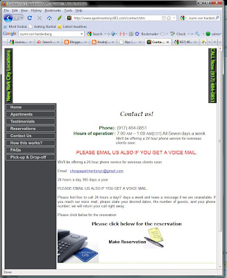 Screenshot of ApartmentNYC911.com taken on September 15, 2009 showing ApartmentNYCity.com as part of page title