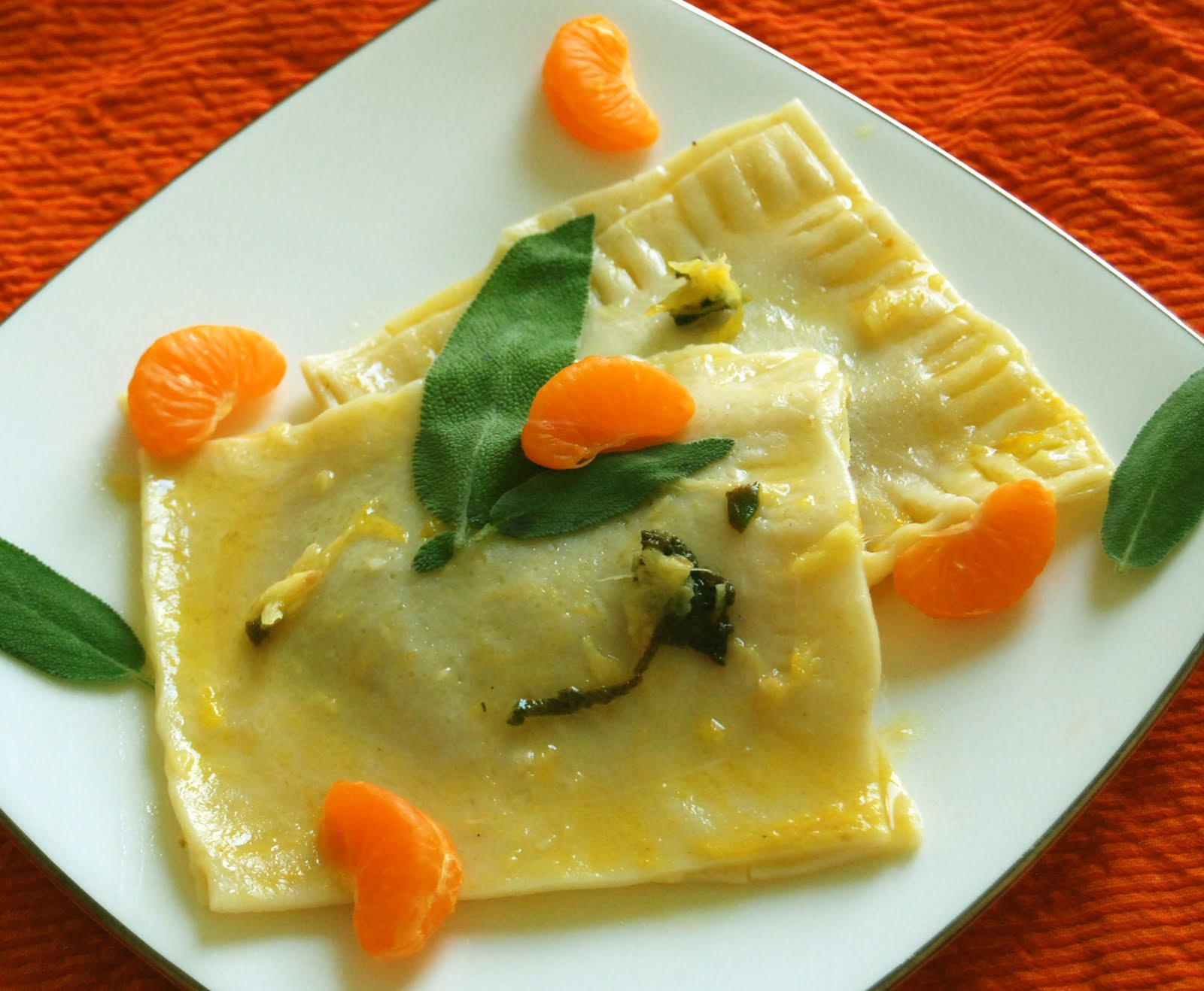 Adhi Potoba: Butternut Squash Ravioli with Butter Sage Sauce