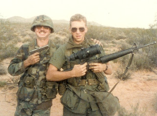 am on the right with the M16A1 (yes I know Sgt Taylor appears to