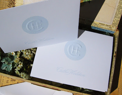 we had to pull a few tricks to create realistic comps for client approval including similating embossed logos or monograms on letterhead and cards - Personalized Embossed Note Cards