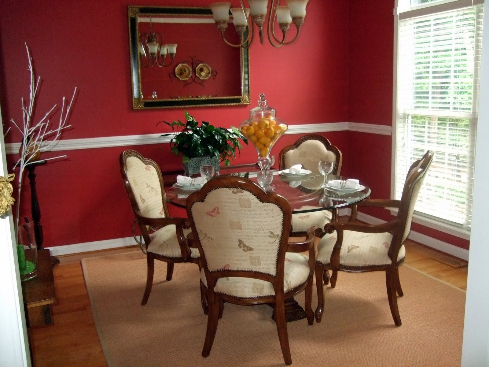 Client project updating a traditional dining room emily for Red dining room designs