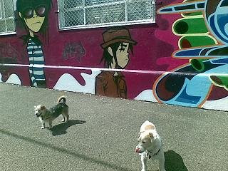 Gorillaz wall art with Monty and Daisy