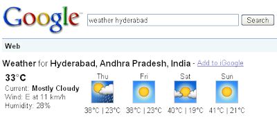 Weather search in Google