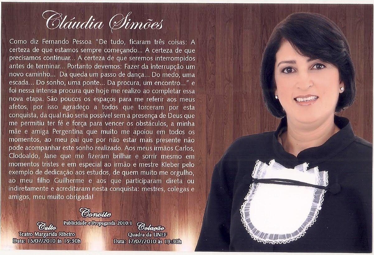 Blog Demais Formatura De Cláudia Simões
