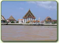A temple along the Chao Phaya river, Bangkok, Thailand