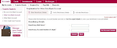 Register a Beneficiary for Axis to Other Axis Bank