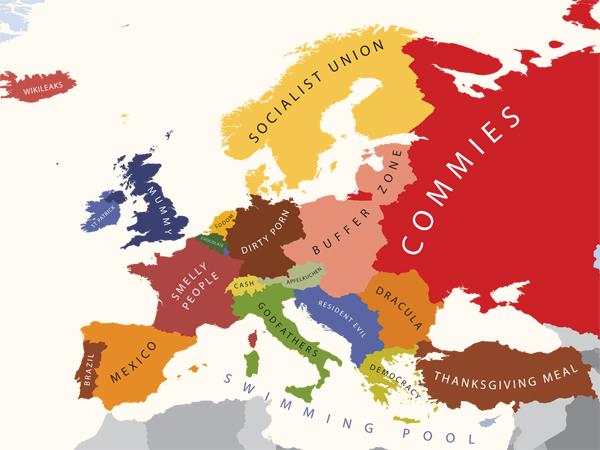 mapa de europa para colorear. Mapa de europa vista por los