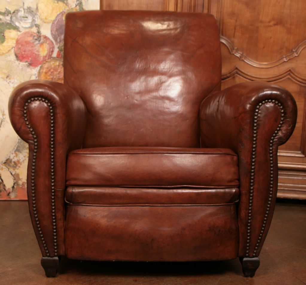 French Art Deco Club Chair With Original Leather, C. 1930