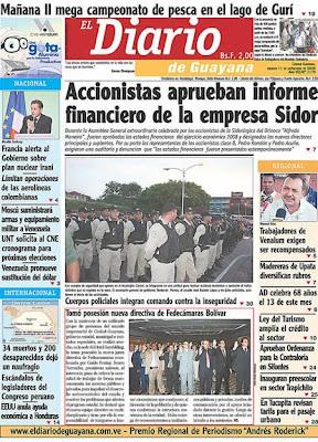 El Diario de Guayana (Bolívar) (11 de Septiembre 2009)