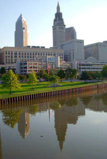 Cleveland Skyline with Reflection in River