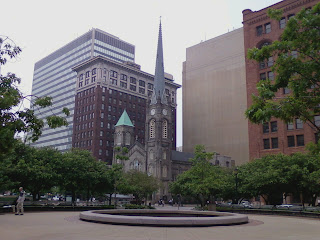 Old Stone Church from park in Public Square