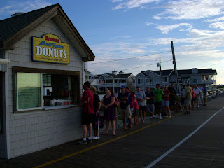 a early morning line forms outside of Browns donuts