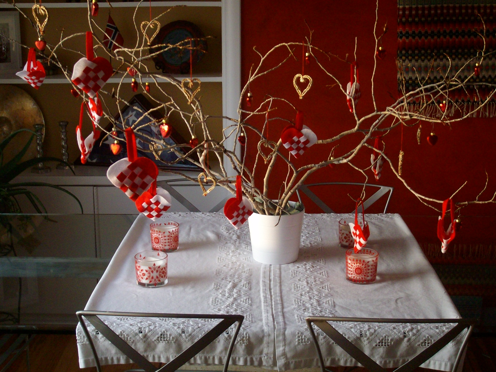 Valentine tree ornaments - In The Interim To Keep Them Company The Branches Have Been Turned Into A Valentine Advent Tree Joyfully All Heart Shaped Ornaments From This Last