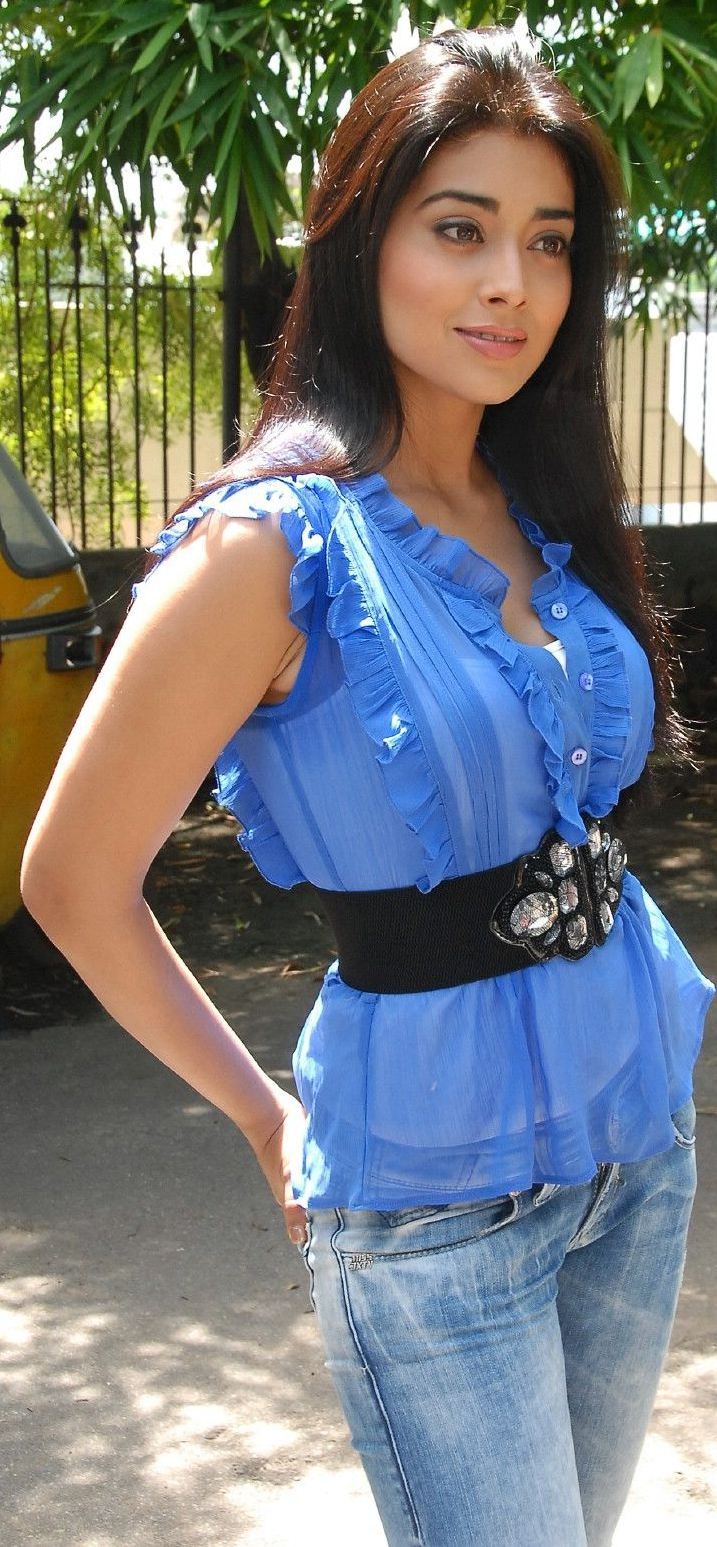 Shreya saran hot armpits in transparent blue shirt glamour images