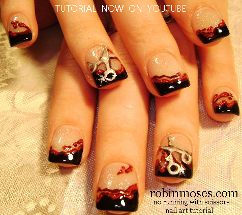 Nail Art Design Nail Art For Hairdressers Scissor Nail Art