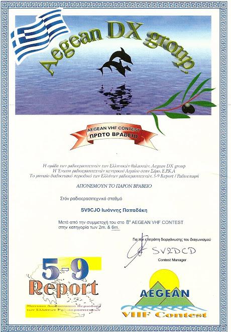 "AEGEAN VHF Contest 8"" 50 MHZ"