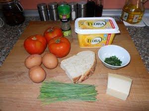 Ingredientes para los nidos de tomate.