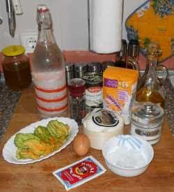 Ingredientes para la flor de calabacín rellena.