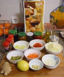 Ingredientes para las samosas de verdura.