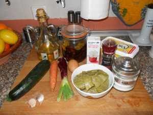 Ingredientes para el pastel de tirabeques.