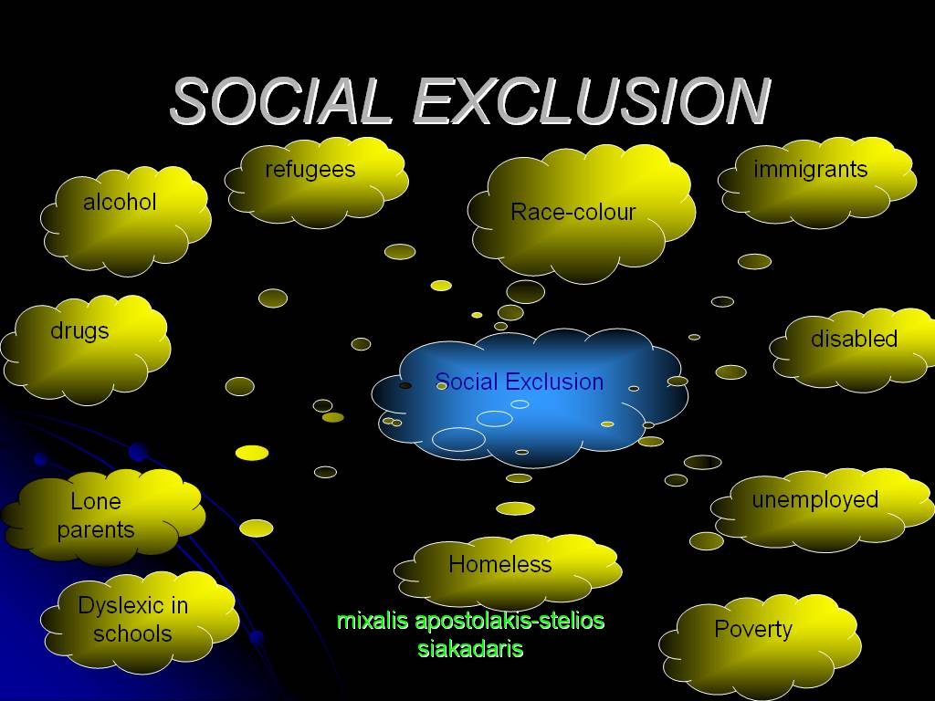 social exclusion essay Social exclusion & current policies/initiatives to address the issue this chapter discusses social exclusion and its growth in popularity with researchers and policy makers it looks at policies employed to address the issue and impact of social exclusion within society, particularly social exclusion in northern ireland.