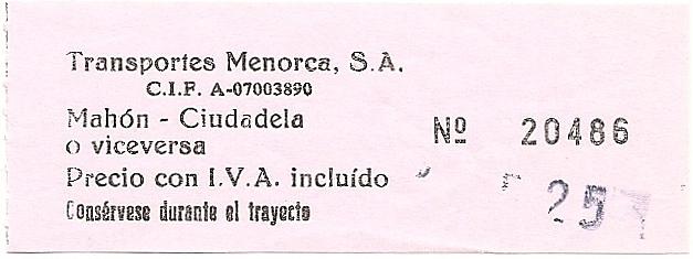 The traveler 39 s drawer transportes menorca billete bus - Transportes menorca ...