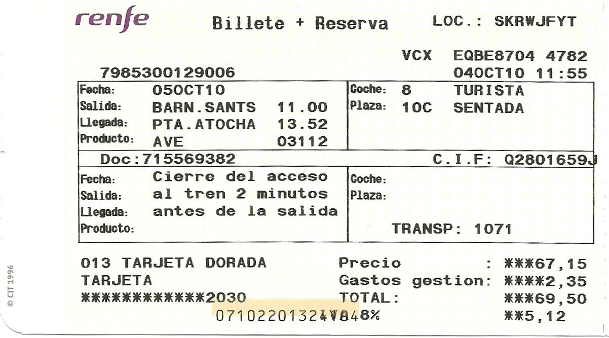 Billetes de train