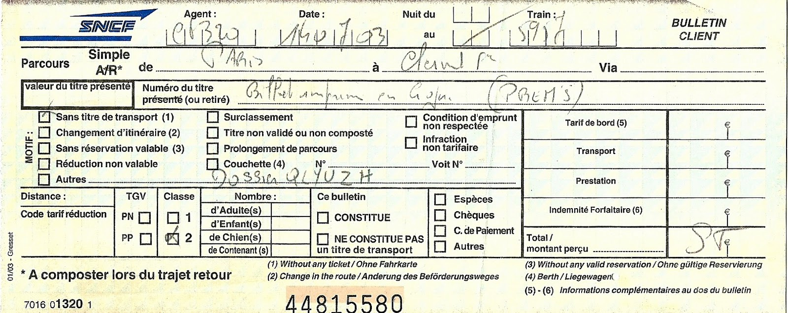 Billet de train clermont ferrand paris