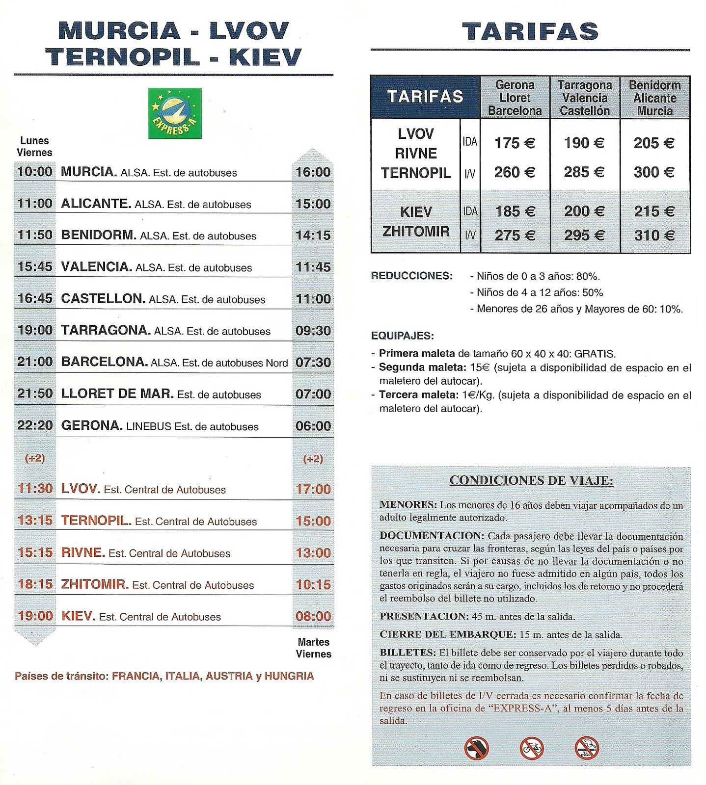 The traveler 39 s drawer alsa ucrania horarios y tarifas 2009 - Horario oficina correos madrid ...