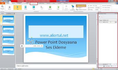 Powerpoint dosyasına ses ekleme