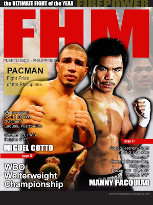 pacman cotto fhm cover, pacquiao cotto november fhm cover