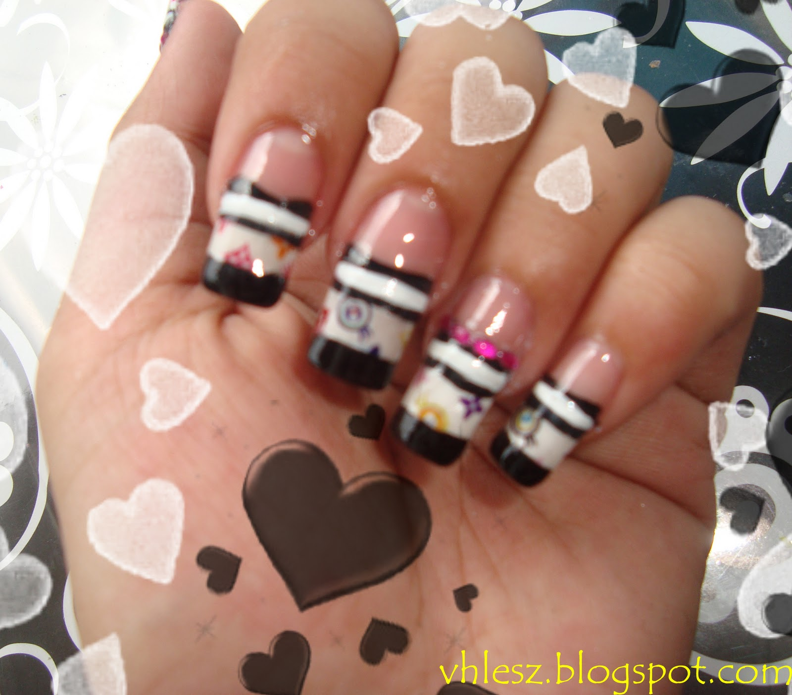 My Colorful Nailart: Black and White with LV water slide decals