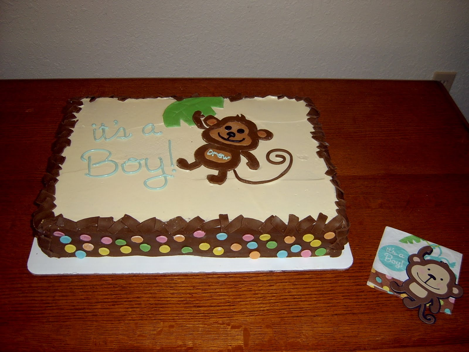 Baby shower monkey cake for the love of cookies - Monkey baby shower cakes for boys ...