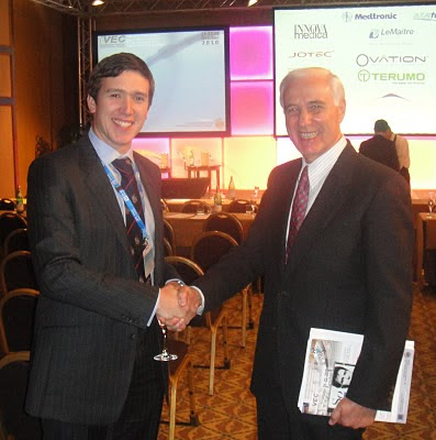 George Badham, the Whiteley Clinic venous research fellow summer 2010, being congratulated on his 3rd place prize at the IVEC in Milan by Professor Giorgio Biasi