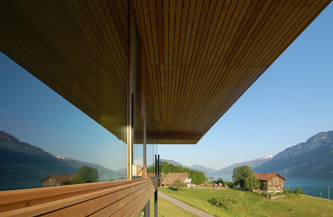 Casa-Walensee, km-Architektur, arquitectura, madera, terrazas