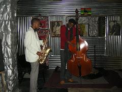 Mngomezulu Neku (bass) and Afrika Mahlangu (sax)