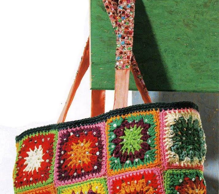 Вязание крючок сумка из квадратов