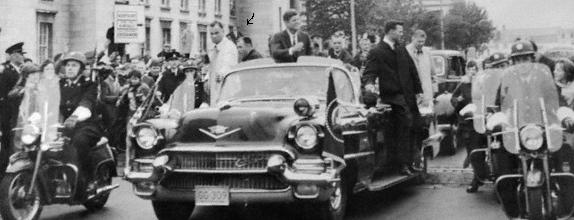 Agents on/ near rear of limo, Ireland, June 1963